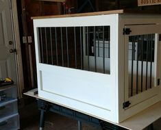 Dog Crate with a twist. Wood Dog Crate, Dog Crate Furniture, Tongue And Groove, Wooden Bar, Ana White, Pretty Good, Dog Stuff, Wood Working, Crates