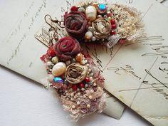 Shabby chic burgundy earrings burgundy victorian by PintOfTint