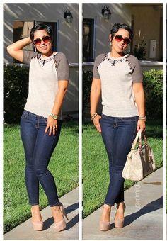 Jeweled J.Crew Sweater/ Gap Jeans  #mimigstyle #loveherstyle