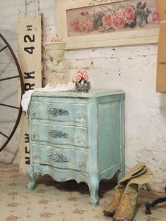 Painted Cottage Chic Shabby Aqua Night Table by paintedcottages