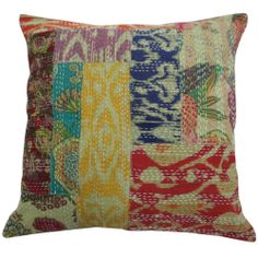 """58cm Patchwork Cushion Cover Ethnic Kantha Style Cotton Couch Pillow Case 23"""" 