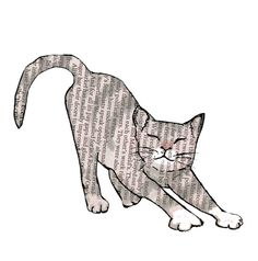 OOH STRETCH.  A Grey cat havng a nice looooong stretch .A fun printed card for cat fans ,from original collage original