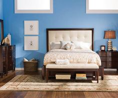 Westwood Bedroom Collection - dark wood plus a fabric headboard.. yes please!!! I love this look. To me it screams relaxed but romantic, depending on how you decorate :)