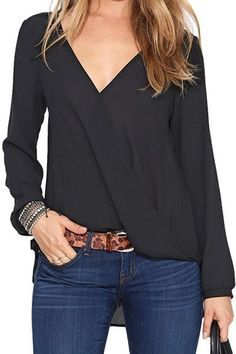 Comfy Casual Weekend Wear! Love the Top with the Leopard Belt! Sexy Black Crossover Pleated V-neck Long Sleeve Chiffon Blouse - Blouses #Sexy #Black #Tops #Closet #Basics