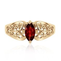 14k Yellow Gold Filigree Ring with 0.2 Carat Natural Marquis-shaped Garnet - Size 7 *** Be sure to check out this awesome product.