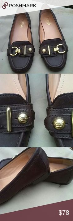 Coach brown leather shoes Worn few times Coach Shoes Flats & Loafers