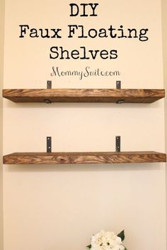 I love how much character these shelves bring to my small bathroom. This is an easy, inexpensive weekend DIY project. EASY, and INEXPENSIVE, DIY Faux Floating Shelves! Finally you can have the look of floating shelves with so much less work! Diy Bathroom, Easy Home Decor, Diy Wall, Floating Shelves Diy, Diy Home Decor, Home Diy, Shelves, Diy Furniture, Wood Diy