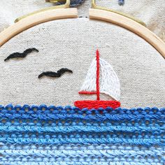 the ocean hand embroidery _ stitching tutorial Hand Embroidery, Embroidery Designs, Pekinese, Stitching, Kids Rugs, Ocean, Decor, Needlepoint, Costura