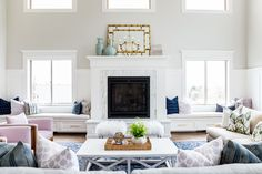 Gorgeous blue and lavender living room. Foothill Drive Tour || Studio McGee