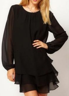 Black Long Sleeve Cascading Ruffle Chiffon Dress