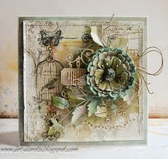 Dorota_mk: A new day - a new card :) Pretty Cards, Cute Cards, Mixed Media Cards, Shabby Chic Cards, Beautiful Handmade Cards, Bird Cards, Copics, Card Tags, Paper Cards