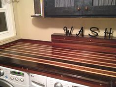 """Laundry Room Solid Redwood Counter Tops, upper Cabinet & cute """"Wash"""" letters ❤️"""