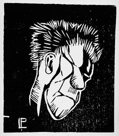 Andreas Luksch, Untitled head, ca 1919, woodcut. Image: 3 13/16 x 3 5/16 in. Robert Gore Rifkind Ctr for German Expressionist Studies @ LACMA
