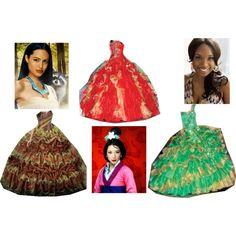 """""""Pocahontas, Mulan and Tiana at the Ball"""" by mandilynn726 on Polyvore"""