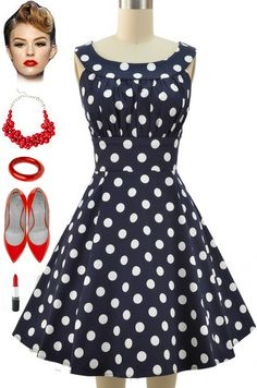 Brand new in store at Le Bomb Shop! Navy with White Polka Dots, Round neck… 50s Dresses, Homecoming Dresses, Vintage Dresses, Vintage Outfits, Vintage Fashion, Rockabilly Looks, Rockabilly Fashion, Pretty Outfits, Pretty Dresses