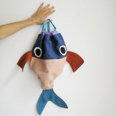 Along with my Fish friend - Drawstring backpack for children- Nursery -