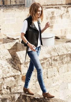 Erin Wasson leather vest + skinny jeans