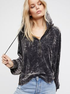 Black I'm Sure It's Velour Hoodie at Free People Clothing Boutique