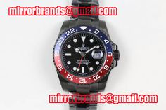 Rolex GMT-Master II PVD All Black Blue/Red Bezel Black Dial on PVD Bracelet A2836