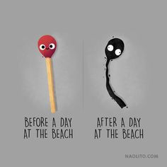 """This illustrator creates fun """"Before / After"""" with everyday objects . Cute Puns, Funny Puns, Funny Cartoons, Funny Art, Hilarious, Cartoon Memes, Funny Doodles, Cute Doodles, Doodles Bonitos"""