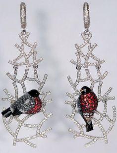 """Earrings """"Bullfinches"""". Jewelry by Ilgiz Fazulzyanov"""
