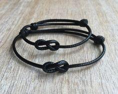 Pulsera simple, negro encerado cordón pulseras su pulseras, pulseras de par de Infinity, WC001354 impermeable