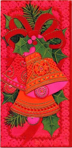 Atomic CHRISTMAS Greeting Card Front MOD Bells Orange Red Pink 1960s