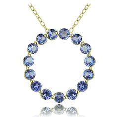Glitzy Rocks Silver Tanzanite Circle Necklace