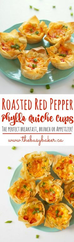 These Roasted Red Pepper Phyllo Quiche Cups from thebusybaker.ca are the perfect healthy Easter snack!