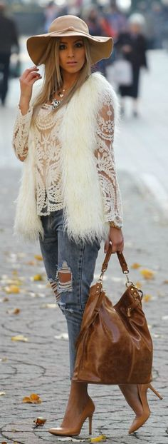 Sweet Openwork Embroidery Pattern Loose Fit Long Sleeve Women's Lace Blouse Winter Fashion Lace Top White Fur Waistcoat Gilet Blue Ripped Denim Jeans Pigalle Style Heels Brown Handbag Wobble Hat Trend Mode Chic, Mode Style, Fall Winter Outfits, Autumn Winter Fashion, Mode Outfits, Casual Outfits, Outfits With Fur Vest, Leopard Outfits, Night Outfits