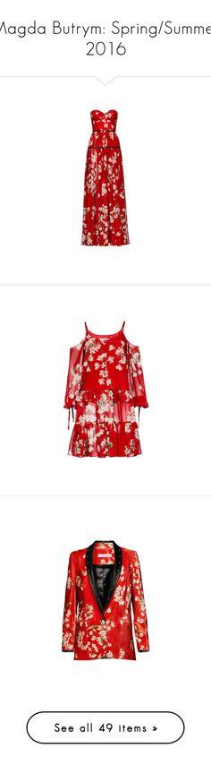 """Magda Butrym: Spring/Summer 2016"" by livnd ❤ liked on Polyvore featuring collection, magdabutrym, springsummer2016, dresses, gowns, vestidos, red silk dress, flower pattern dress, floral printed dress and floral design dresses"