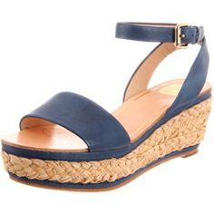 Dolce Vita Women`s Helen Wedge Sandal,Blue Leather,6.5 M US