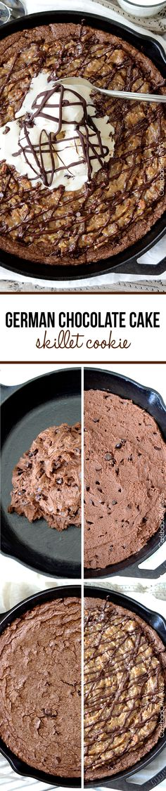 German Chocolate Cake Skillet Cookie- this SO good! Rich, warm, decadent German chocolate cookie topped with roasted pecans and coconut in a rich caramel topping all drizzled with more German chocolate. #Germanchocolatecake #Germanchocolatecookies #skilletcookie