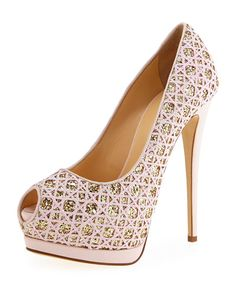 Giuseppe Zanotti embroidered glitter fabric pump with leather trim. 5.5