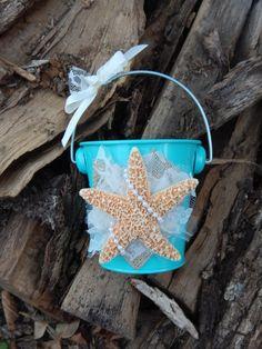 Aqua Flower Girl Bucket Starfish Wedding Destination by OneFunDay