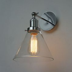 Loft Fashion Glass& Chrome Vintage Industrial Wall Light Sconce Lamp Fixture in Home & Garden, Lighting, Fans, Wall Fixtures | eBay!