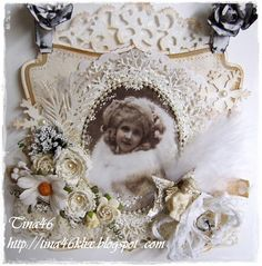 Shabby Christmas card by LLC DT Member Tina Klix, using papers from Pion Design's Silent Night collection.