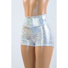 High Waist Silver on White Shattered Glass Holographic Metallic... ($30) ❤ liked on Polyvore featuring shorts, metallic spandex shorts, highwaist shorts, silver spandex shorts, hologram shorts and metallic shorts