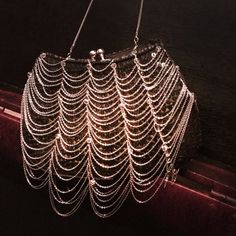 WAYNE M. KLESKI EVENING BAG This bag is gorgeous!!   The entire bag has black sequins sewn on it. With the added drop chains attached by bugle beads and round beads.  This has only been used once. HOST PICK 2/23/16 Bags Clutches & Wristlets