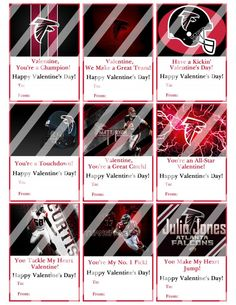 Atlanta Falcons Valentines Day Cards Sheet #3 (instant Download Or Printed)