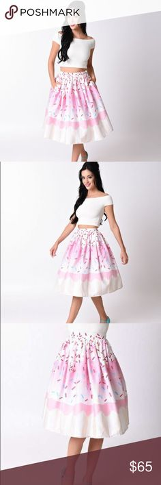 NWT Unique Vintage Pink Cupcake Skirt New with tags Pink Cupcake skirt made by Unique Vintage. Size Large. Meant to wear for my birthday and needed different size. Photos shown with model wearing petticoat underneath skirt for volume. Comes from dog friendly, non smoking home. Unique Vintage Skirts