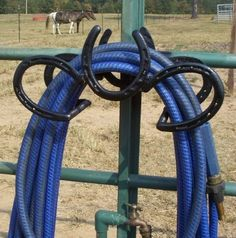 Great horseshoe water hose holder! I have lots of horseshoes too and a husband that welds. Hmmmmm.....it is possible. #CastleInk