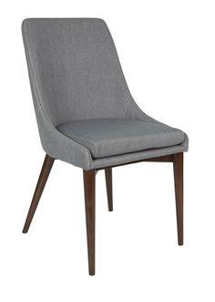 Dutchbone+Juju+Spisestuestol+-+Grå+-+Flott+spisebordstol+i+grå+polyester+med+skumfyll.+Den+indre+rammen+er+i+metall+og+skumfyllet+gjør+at+den+får+en+helt+optimal+sittekomfort.+De+flotte+bena+i+ask+er+lakkert+i+en+valnøtt+farge+for+å+gi+det+helt+riktige+uttrykket.+Sitteputen+er+enkel+å+ta+av+og+rengjøre.