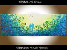 blue bird Painting birds in tree branch painting por QiQiGallery
