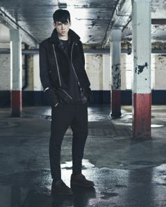 AllSaints AW14 | Menswear Look 1.  The Autumn/Winter 2014 collection is inspired by the ever-evolving landscape surrounding the AllSaints atelier. Unfamiliar and juxtaposed materials are bonded together – cashmere and calf, mohair and nappa – evoking the cultural collage that makes up East London.