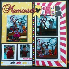 handmade scrapbook page, pg 2:  Disney World, Magic Kingdom, Mickey Mouse, Minnie Mouse, Woody, Lilo, A dream come true Parade  kit from trmemories.com