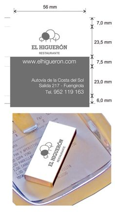 """Propuesta diseño cajas de cerillas modelo """"Hotel"""" para restaurante El Higueron en Fuengirola. Model, Match Boxes, Proposals, Restaurants"""