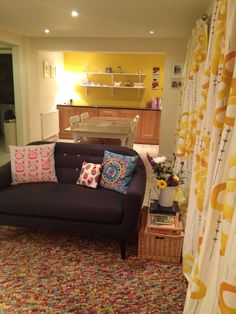 Curtains arrived! Loving ikea's stockholm range of fabrics. Hoping I've not gone too busy with this. Just wanted a cosy bright space.