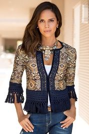 Fringe Trim Jacket Like a work of art, our tapestry-inspired jacquard has allover sparkle detail with an embroidered placket, hook-and-eye closure, velvet border with embroidered overlay and kno Boho Outfits, Fashion Outfits, Kleidung Design, Boho Fashion, Womens Fashion, Fashion Trends, Fashion Tips, Diy Clothes, Clothes For Women