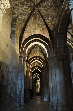 Bas-côté de l'église, monastère royal de Santa María de Veruela, Vera de Moncayo, province de Saragosse, Aragon, Espagne.
